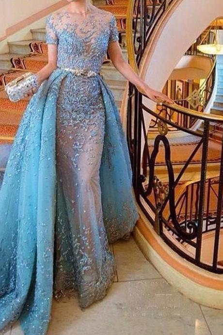 Sky Blue Evening Dresses Short Sleeve Embroidery Overskirts Gown Design Celebrity Prom Dresses Long Prom Party Dress Custom Made