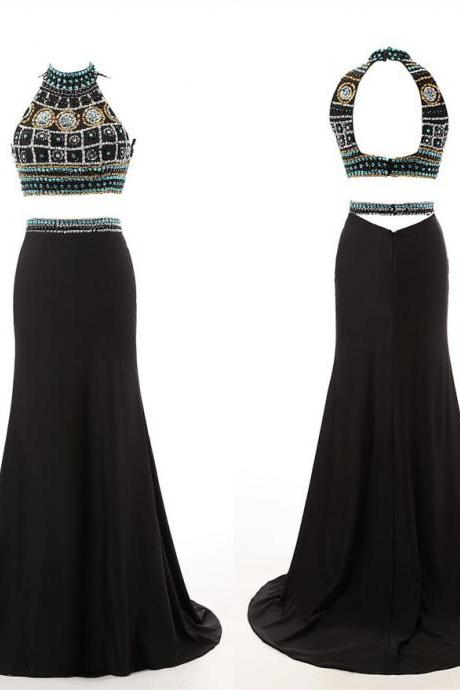 Black Floor Length Two-Piece Prom Dress Featuring Beaded Embellished Halter Neck Crop Bodice, Open Back and Long Chiffon Trumpet Skirt