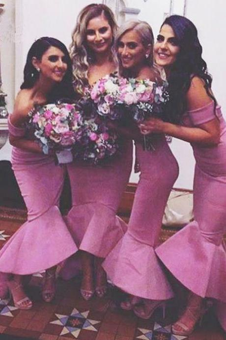 Pink Bridesmaid Gown,Prom Dresses,Satin Prom Gown,Simple Bridesmaid Dress,Cheap Bridesmaid Dresses,Fall Wedding Gowns,Bridesmaid Dresses,Hot Pink Bridesmaid Gown