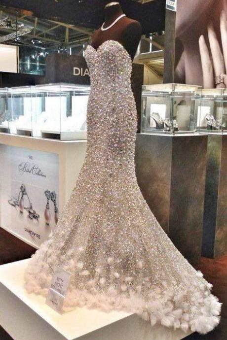 Luxury Mermaid Wedding Dresses Rhinestones Pearl Crystal Bead Wedding Gown