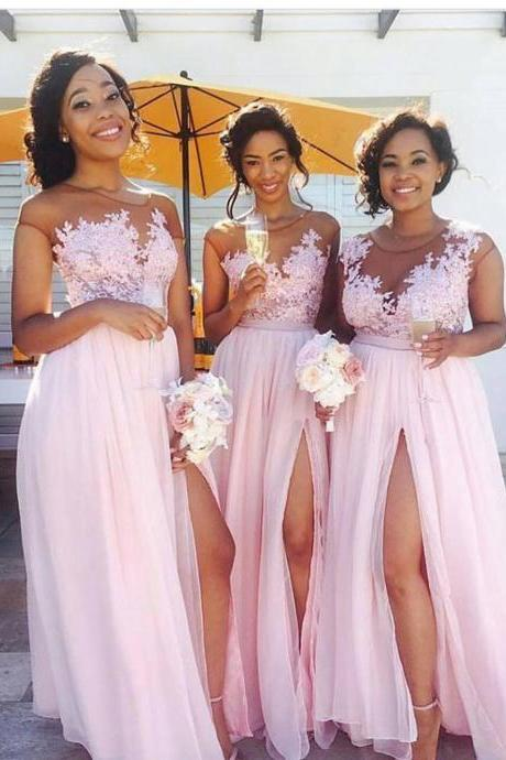 Pink Bridesmaid Dress, Cheap Bridesmaid Dress, Bridesmaid Dresses 2017, Blush Pink Bridesmaid Dress, Wedding Party Dresses, Custom Bridesmaid Dresses, Elegant Bridesmaid Dress, A Line Bridesmaid Dress