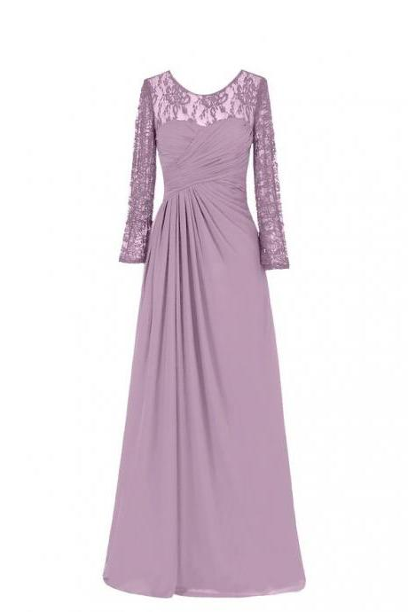 Purple Long Chiffon A-Line Evening Dress Featuring Ruched Sweetheart Bodice with Lace Sheer Long Sleeves