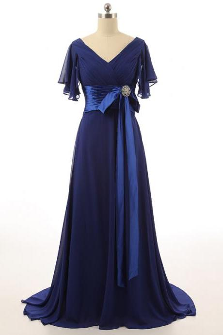 V Neck Chiffon Flutter Sleeves Waistline with Beaded Brooch Bow Party Dresses