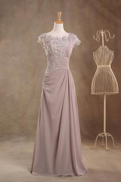Long Chiffon A-Line Evening Dress Featuring Beaded and Lace Bateau Neckline with Cap Sleeves