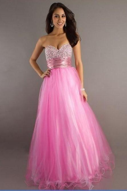 A-line Sweetheart Beading Sleeveless Floor-length Tulle Prom Dress