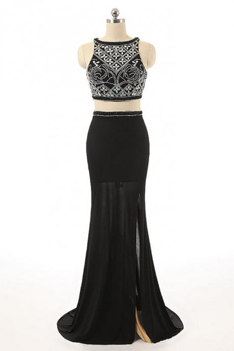 Sexy Two Pieces Beaded Evening Prom Dresses, Black Long Slit Party Prom Dress, Custom Long Prom Dresses, Cheap Formal Prom Dresses