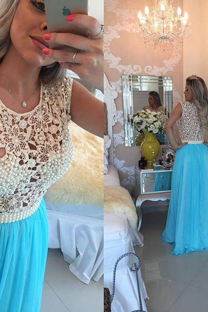 Light Blue Floor Length Lace And Chiffon Prom Dress With Pearlssses