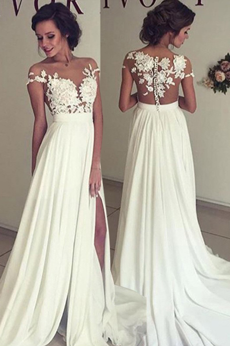 Sexy A-Line Split Side Sheer Neck Long Wedding Dress Bridal Gown with Lace