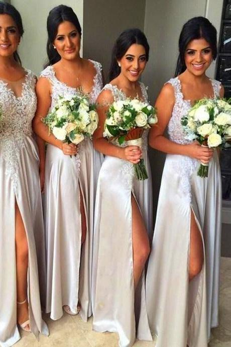 Lace Bridesmaid Dress,Split Prom Dress,Fashion Bridesmaid Dresses,Sexy Party Dress, New Style Evening Dress