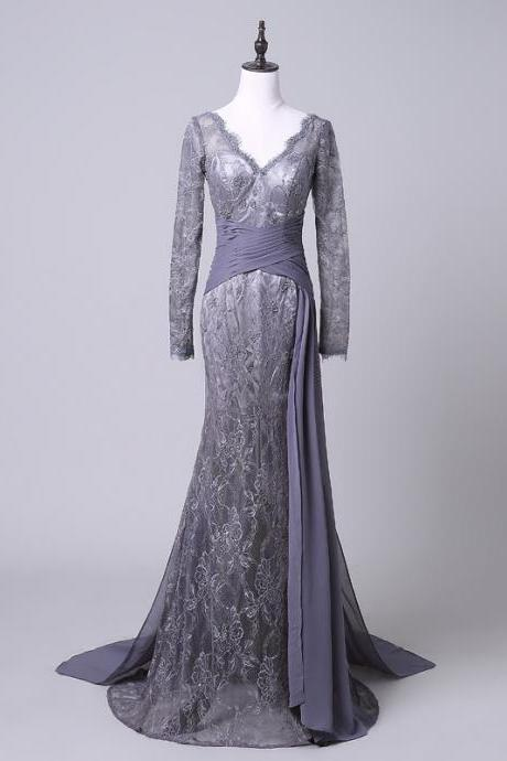 Evening Dresses,Evening Dress,Formal Dresses,Formal Dress,Mother Dress,Mother of the Bride Dresses,Wedding Guest Dresses,Long Sleeve Dresses,Lace Dress,Mermaid Dress,V-Neck Dress,Gray Dress,Grey Dresses