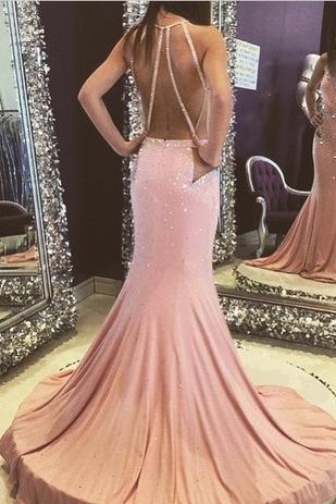 High Quality EVENING Dress Sexy Prom Dress Halter PARTY DresSES Backless Prom Dress Sexy Prom Dress Mermaid Prom Dress