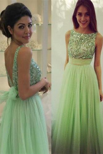 Charming EVENING Dress Sequined PARTY Dress A-Line Prom Dress Backless Prom Dress Tulle Prom Dress