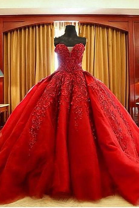 Luxury Wedding Dress Handmade Wedding Dress Lace Wedding Dress Ball Gown Beaded Wedding Dress Sweetheart Red Wedding Dress Embroidery Gothic Bridal Dress