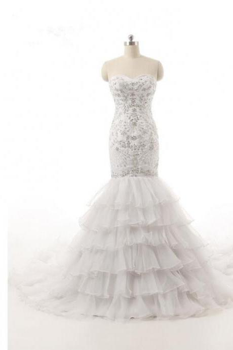 Strapless Sweetheart Beaded Mermaid Wedding Dress with Tiered Ruffle Skirt and Long Train