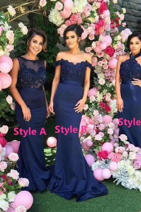 Navy Blue Prom Dress,Long Prom Dresses,Mermaid Prom Dresses,Bridesmaid Dress,Navy Blue Bridesmaid Dress, Halter Birdesmaid Dress, sexy prom dress, Evening Dress,Prom Gowns,Women Dress,Formal Prom Evening Dress, Wedding Party Dress, Homecoming Dress