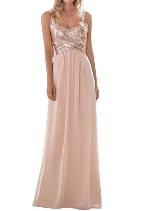 2017 New Rose Gold Bridesmaid Dress A Line Spaghetti Straps Backless Sequins Chiffon Wedding Guest Dress