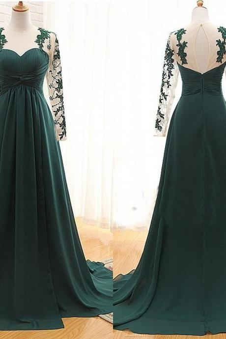 Custom Made Dark Green Floor Length Lace Appliquéd Mesh Long Sleeved Sweetheart Evening Dress Featuring Chapel Train and Keyhole Back