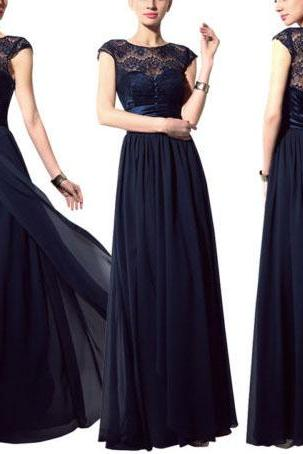 long bridesmaid dress, cap sleeve bridesmaid dress, lace bridesmaid dress, navy blue bridesmaid dress, mother of bride dress, cheap prom dress