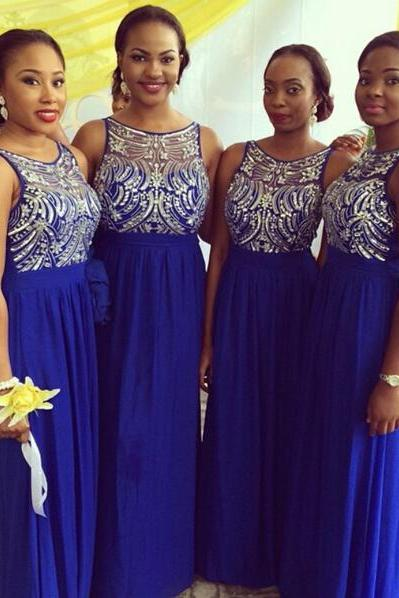 long bridesmaid dress, royal blue bridesmaid dress, round neck bridesmaid dress, off shoulder bridesmaid dress, 2015 bridesmaid dress,