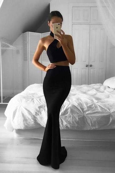 Black Halter Two Piece Formal Gown, Backless Mermaid Prom Dress, Party Dress