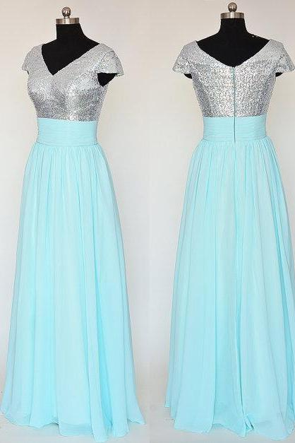 Cap Sleeve Blue Bridesmaid Dresses Featuring Sequined Bodice With V Neck Long Strapless Chiffon Formal Prom Dress Evening Gowns