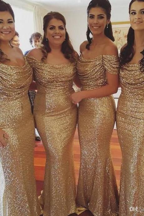 2017 Gold Sequin Off the Shoulder Long Mermaid Bridesmaid Dresses Sexy Wedding Party Gown Women Evening Dress Prom Evening Formal Dresses Plus Size