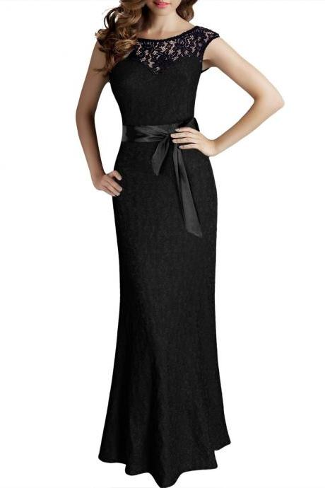 2017 new wedding dresses lace Women's Elegant Sleeveless Halter Black Lace Bridesmaid Maxi Dress wedding gowns