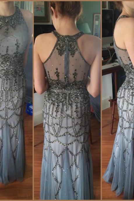 Sexy Prom Dress,Modest Prom Dresses,Beautiful Prom Gowns,Silver Gray Evening Dress,2017 Prom Gowns,Mermaid Evening Gowns,Tulle Prom Gown