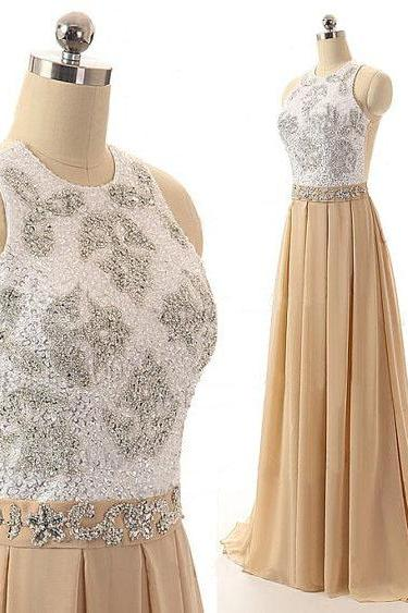 Beaded Embellished Champagne Halter Crew Neck Chiffon Floor Length Evening, Prom Dress Featuring Sheer Open Back and Bow Accent