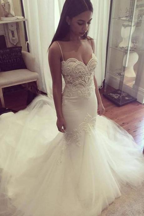 Spaghetti Straps Ivory Mermaid Wedding Dress with Pearls