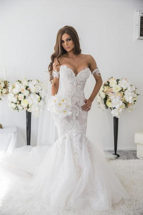 Lace Mermaid Wedding Dress with Pearls