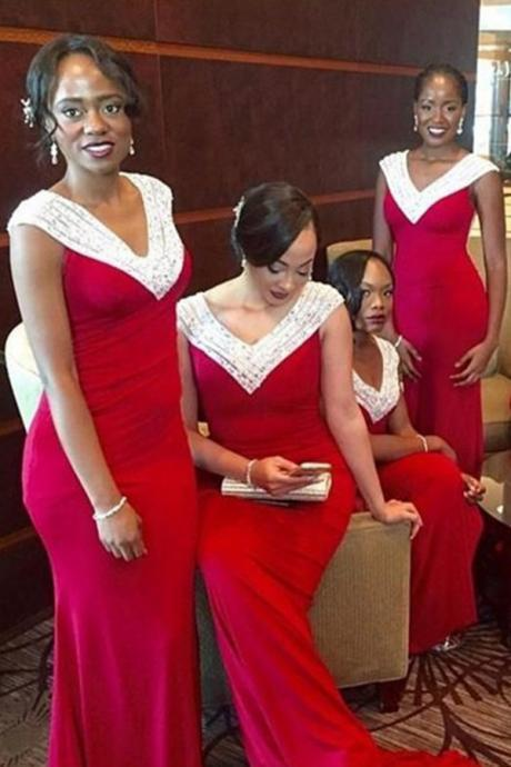 Mermaid V-neck Cap Sleeves Sweep Train Red Bridesmaid Dress with Beading