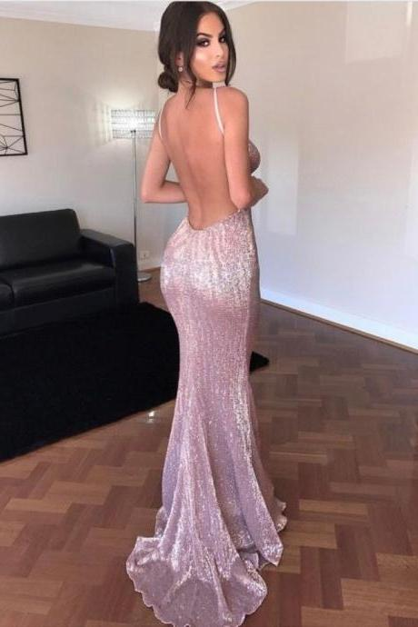 2017 Sexy Spaghetti Straps Backless Sequined Sweep Train Prom Dress,Backless Prom Dress,Sequins Prom Dress,Beading Prom Dress,Long Formal Dress, Party Dress,
