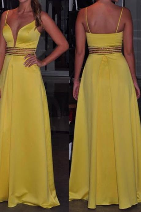Charming Prom Dress,Satin Prom Dress,Beading Prom Dress,Spaghetti Straps Evening Dress