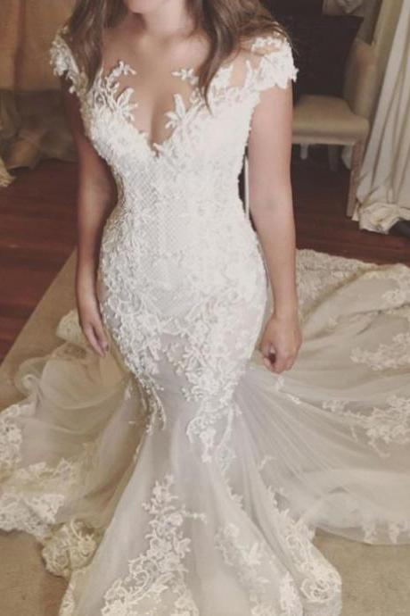 Illusion Neck Lace Mermaid Wedding Dress with Cap Sleeves