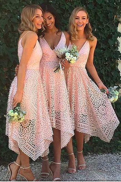 Beautiful Custom bridesmaid dress, Sleeveless Newest Spaghetti Strap Tea Length Lace Bridesmaid Dress