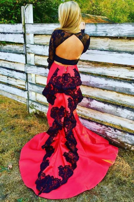 open back prom dress,two piece prom dresses,satin prom dress,2 piece prom dress,mermaid prom dress 2017,long sleeves evening gowns,elegant formal dress
