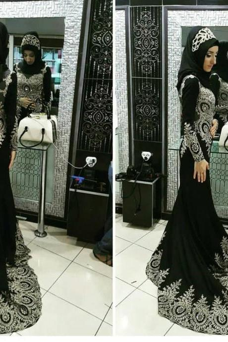 New Arrival Prom Dress,Modest Prom Dress,long sleeves mermaid prom dress,Arabic prom dress,Muslim Evening Gowns,Prom Dress 2017
