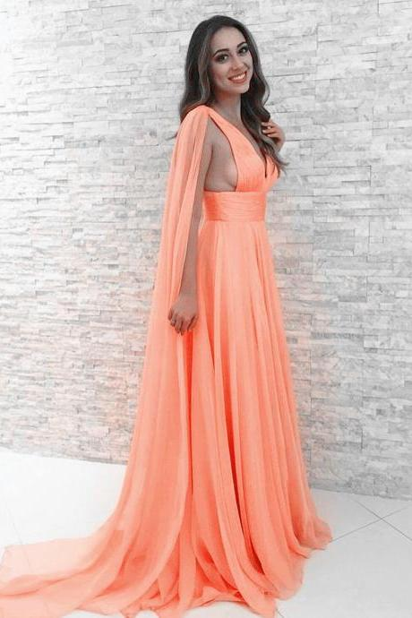 New Arrival Prom Dress,Modest Prom Dress,coral prom dresses,chiffon evening dresses,floor length dress,simple evening gowns,elegant party dresses,women's formal dress