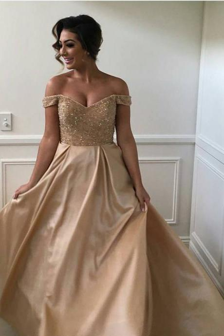 New Arrival Prom Dress,Modest Prom Dress,sexy off the shoulder sequins and beaded sweetheart long satin ball gowns prom dress,gold prom dress,prom gowns 2017