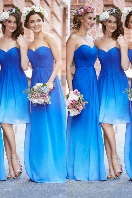 Elegant Sweetheart Empire Gradient Blue Prom Dresses,Summer Style Party Dress For Wedding Dresses,Bridesmaid Dresses,Long Chiffon Graduation Dresses