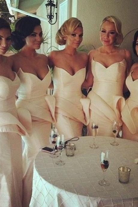Custom Made White Mermaid Sweetheart Neckline Satin Mermaid Bridesmaid Dress with Peplum Detail
