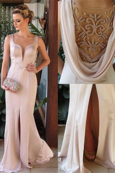 Prom Dresses, 2017 Sleeveless Pearl-Pink Split Elegant Beadings Evening Dress