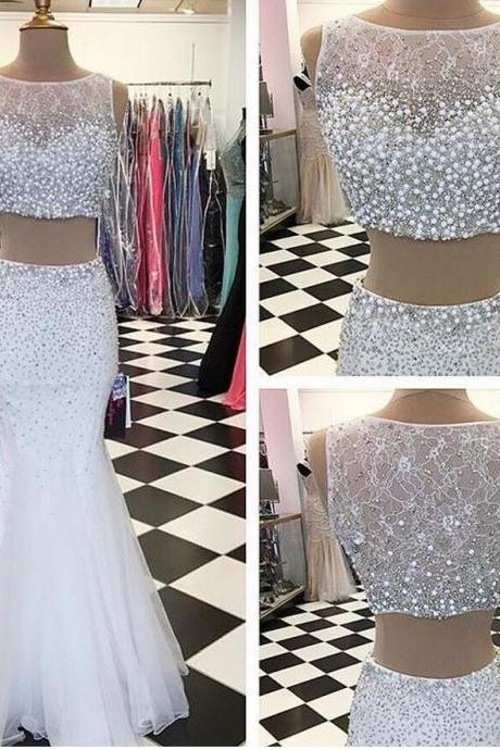 Sexy Prom Dresses,2 pieces Evening Dresses,New Fashion Prom Gowns,Elegant Prom Dress,Princess Prom Dresses,White Evening Gowns,White Formal Dress,White Evening Gown