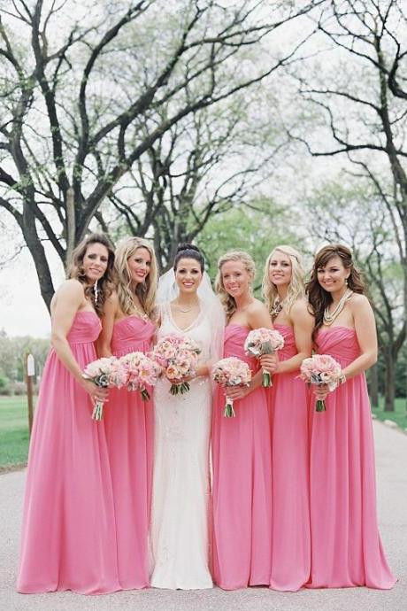 Custom Made Pink Strapless Chiffon Long Bridesmaid Dress