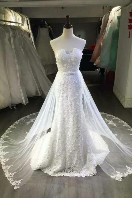 Wedding Dress,Wedding Gown,Bridal Gown,Bride Dresses, Ivory Wedding Dress,Long Wedding Dresses, Sexy Wedding Dress,Mermaid Wedding Dresses,Sweetheart Neckline Wedding Gowns,Detachable Train Wedding Gowns,Cathedral Train Wedding Gown,Pearls Bridal Dresses,