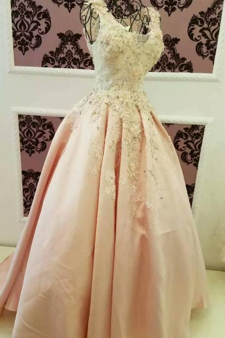 Wedding Dress,Wedding Gown,Bridal Gown,Bride Dresses, Pink Wedding Dress,Ball Gown Wedding Dress,Backless Wedding Dress,Appliqued Wedding Dress,Beaded Wedding Dress,Flowers Wedding Gown,Customized Made Wedding Dress,Crystal Wedding Dress