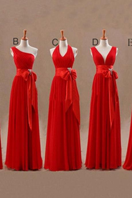 Mismatched Junior Chiffon Red Long A Line Formal Cheap Maxi Bridesmaid Dresses with Bow,