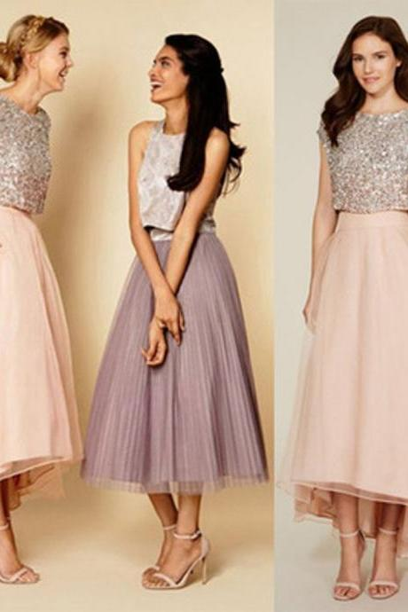Pretty Two Pieces Cap Sleeve Sequin Top Organza Long Bridesmaid Dresses Cheap Prom Dresses,