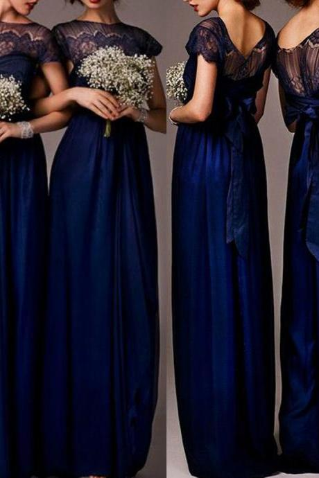 Impressive Discount Cap Sleeve Top Seen-Through Lace Elegant Royal Blue Long Bridesmaid Dresses,